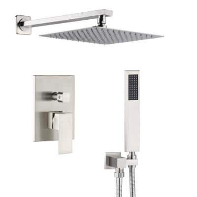 2-Handle 2-Spray Square High Pressure Shower Faucet Set in Brushed Nickel (Valve Included)