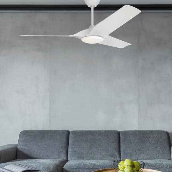 Altitude Gossamer 60 In Integrated Led Indoor Matte White Ceiling Fan With Remote Control With White Color Changing Light Kit 953l60mwh The Home Depot
