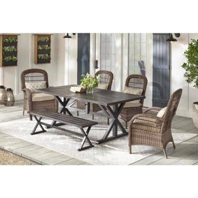 Beacon Park Brown Steel Outdoor Dining Bench