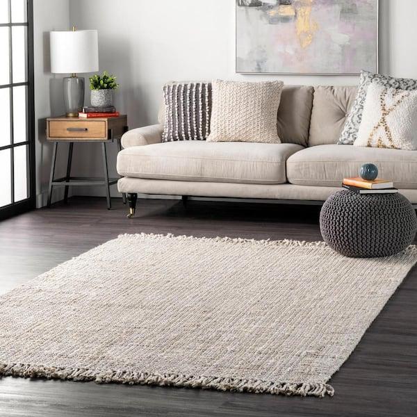 Nuloom Natura Chunky Loop Jute Off, White Living Room Rug