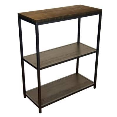 36 in. Brushed Brown Bamboo Wood 3-Shelf Etagere Bookcase with Steel Frame