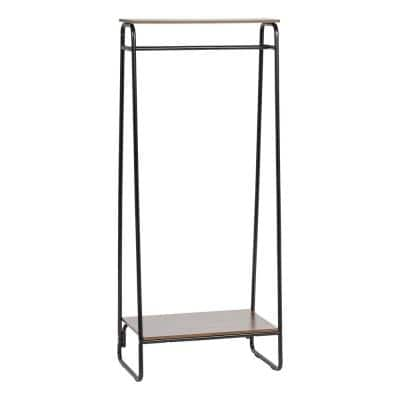 Black Metal Clothes Rack with 2 Wood Shelves (16 in. W x 59 in. H)