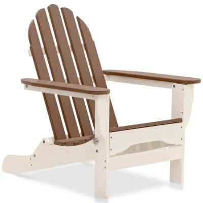 Icon White and Teak Plastic Folding Adirondack Chair