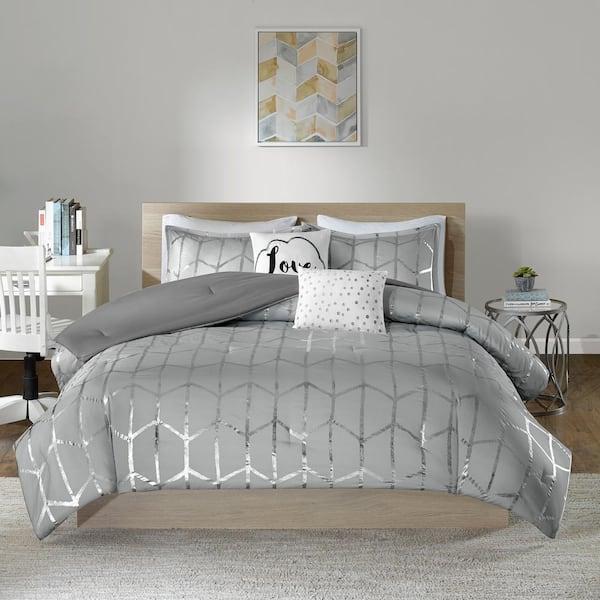 Intelligent Design Khloe 4 Piece Grey, Grey Silver Bedding
