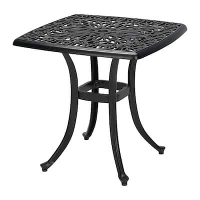 Classic Black Square Cast Aluminum Outdoor Patio Side Table