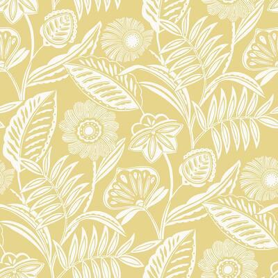 Alma Yellow Tropical Floral Yellow Wallpaper Sample