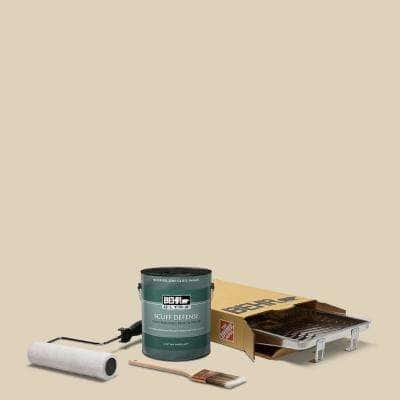 1 gal. #PPU4-12 Natural Almond Extra Durable Semi-Gloss Enamel Int. Paint & 5-Piece Wooster Set All-in-One Project Kit