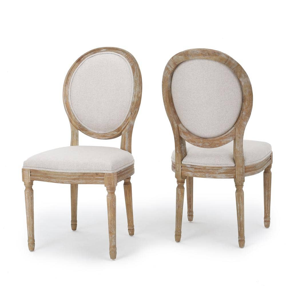 Noble House Phinnaeus Beige Fabric Dining Chairs Set Of 2 11455 The Home Depot