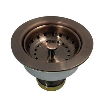 Tacoma 4-1/2 in. D. Stainless Steel Snap-N-Tite Sink Basket Strainer in Antique Copper