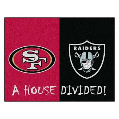 NFL 49ers / Raiders Red House Divided 3 ft. x 4 ft. Area Rug
