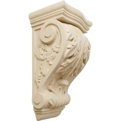 8 in. x 6-1/2 in. x 15 in. Unfinished Lindenwood Large Farmingdale Acanthus Corbel
