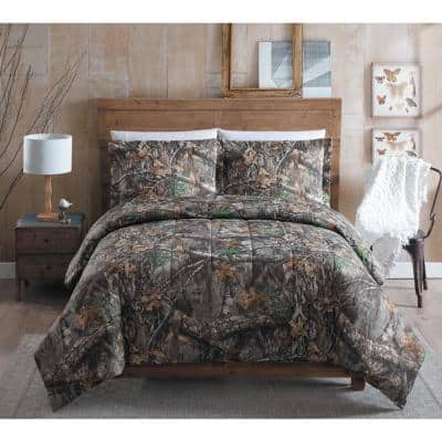 3-Piece Polyester Cotton Blend Queen Size Camouflage Comforter Set
