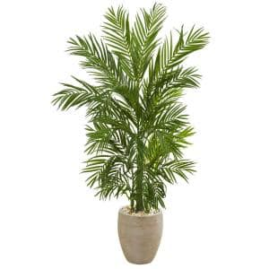 Indoor 5 ft. Areca Palm Artificial Tree in Sand Colored Planter