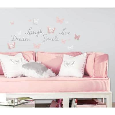 5 in. x 11.5 in. Butterfly Dream with 3D Butterflies 21-Piece Peel and Stick Wall Decal