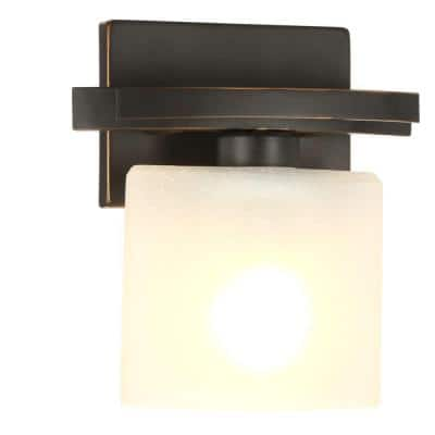 Ettrick 1-Light Oil-Rubbed Bronze Sconce with Hand Pained Glass Shade