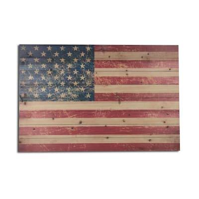 USA Flag Planked Wood Americana Travel Art Print 24 in. x 36 in.