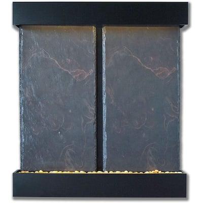 Double Nojoqui Falls Lightweight Slate Wall Fountain in Black Onyx Trim