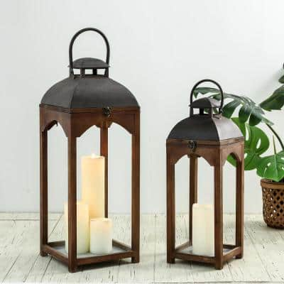 Whiskey Brown Farmhouse Modern Wood/Metal Lanterns (Set of 2)