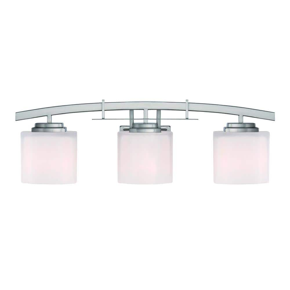 Hampton Bay Architecture 3 Light Brushed Nickel Vanity Light With Etched White Glass Shades 15041 The Home Depot