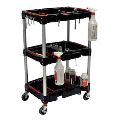 22.75 in. W x 18 in. D x 32 in. H Multipurpose Utility Cart, Black/Red