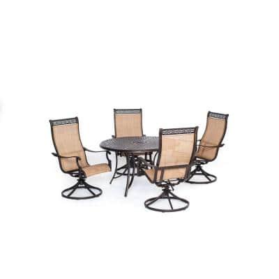 Somerset 5-Piece Aluminum Round Outdoor Dining Set with Swivels and Cast-Top Table