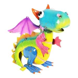 Metal Hand Painted Flying Dragon Garden Statue