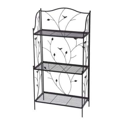 44.75 in. H Black Metal Rectangular Shelf Plant Stand (3-Tiered)