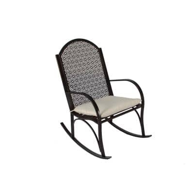 Garden Metal Outdoor Rocking Chair with Light Tan Cushion