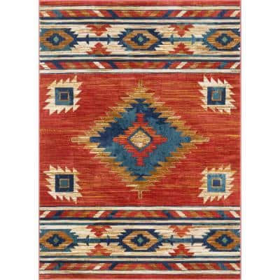 Tulsa Lea Traditional Southwestern Geometric Crimson/Red 5 ft. 3 in. x 7 ft. 3 in. Area Rug