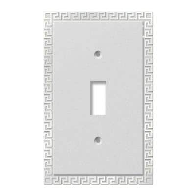 Greek Key 1 Gang Toggle Metal Wall Plate - Frosted Chrome