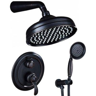 2-Handle 2-Spray of Rain 8 in. Round Shower Head Shower Faucet with Handheld Shower in Bronze (Valve Included)