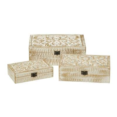 Natural 8, 10 and 12 in. White Carved Wooden Filigree Decorative Boxes, Set of 3