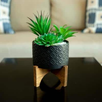 5 in. Matte Black Indian Ceramic Planter on Wood Stand Mid-Century Planter