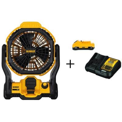 20-Volt MAX Cordless and Corded 11 in. Jobsite Fan with (1) 20-Volt 3.0Ah Battery & Charger