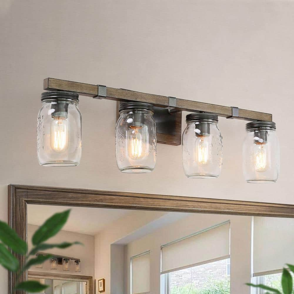 Lnc Araphi 4 Light 29 In Oil Rubbed Bronze Rustic Bathroom Vanity Light With Clear Jar Glass Shade And Painted Wood Accents R77zmmhd1356216 The Home Depot
