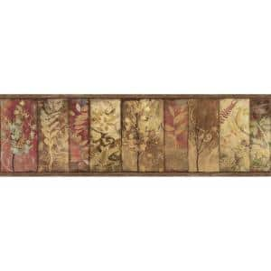 Lillinonah Brown Foliage Brown Wallpaper Border