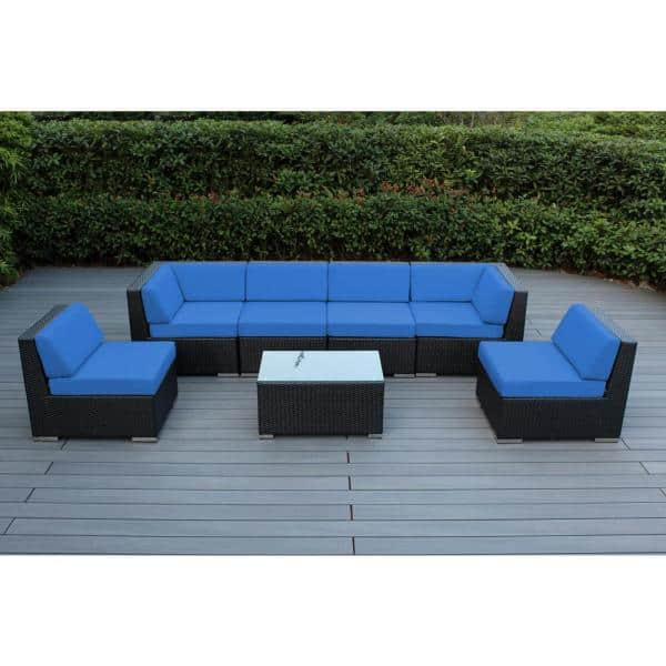 Ohana Depot Ohana Black 7 Piece Wicker Patio Seating Set With Supercrylic Blue Cushions Pn7037 Bl The Home Depot