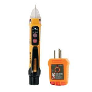 2-Piece Non-Contact Voltage Tester with Laser Pointer and GFCI Outlet Tester Tool Set