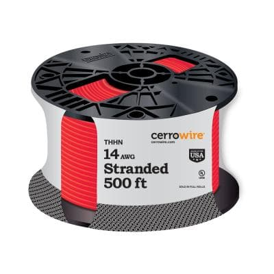 500 ft. 14 Gauge Red Stranded CU THHN Wire