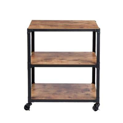 30 in. x 12 in. x 23 in. 3-Tier Metal with Wood Mobile Utility Cart in Black