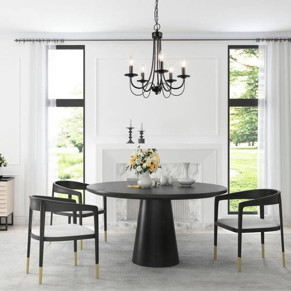 Lnc Modern Black Chandelier 5 Light, Dining Room Chandelier Lighting
