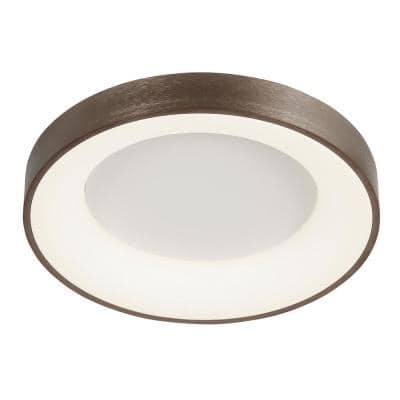 Acryluxe Sway 24 in. Light Bronze Round LED Flush Mount Light with Opal Acrylic Shade