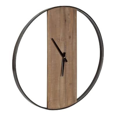 Ladd Natural/Black Industrial Wall Clock