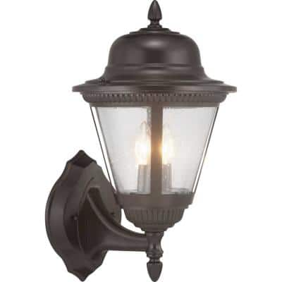 Westport Collection 2-Light Antique Bronze Clear Seeded Glass Traditional Outdoor Medium Wall Lantern Light