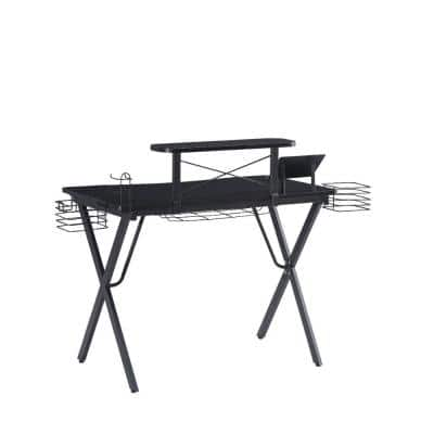 39.37 in. W Black Ergonomic Metal Computer Gaming Desk with X Shape Legs and Elevated Shelf