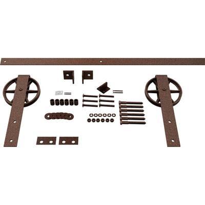 1-5/8 in. x 48 in. x 13-5/8 in. Steel Premium Wagon Wheel Strap Barn Door Hardware Set Moulding Copper Vein