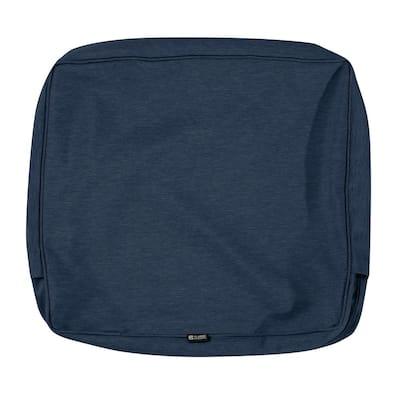 Montlake FadeSafe 25 in. W x 22 in. H x 4 in. D Patio Lounge Back Cushion Slip Cover in Heather Indigo Blue