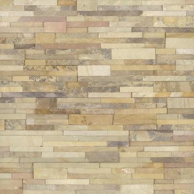 Salvador Fossil Ledger Panel 6 in. x 24 in. Natural Sandstone Wall Tile (18 cases / 144 sq. ft. / pallet)