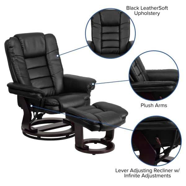 Flash Furniture Contemporary Black, Flash Furniture Recliner Chair With Ottoman