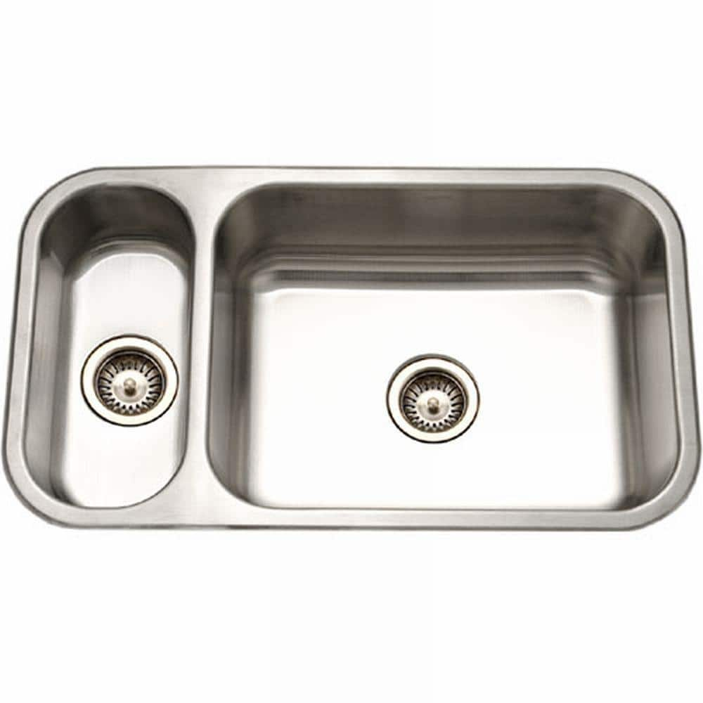 Houzer Elite Series Undermount Stainless Steel 32 In Double Bowl Kitchen Sink Ehd 3118 1 The Home Depot